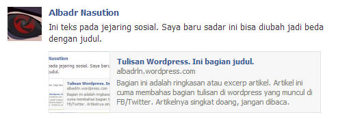 Hasil Publicize WordPress di Facebook