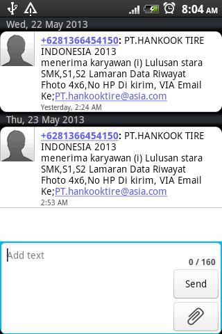 Iklan Lowongan Kerja via SMS