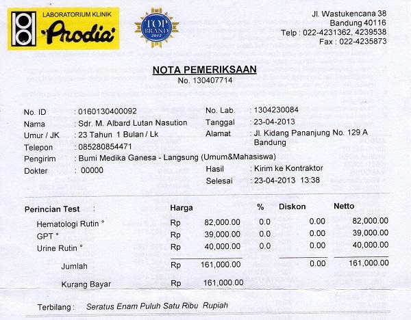 Invoice Laboratorium dari Prodia