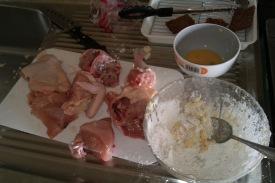 Ayam, tepung, dan telur