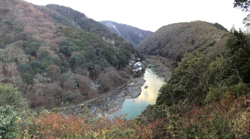 Pemandangan dari dek observasi Taman Arashiyama